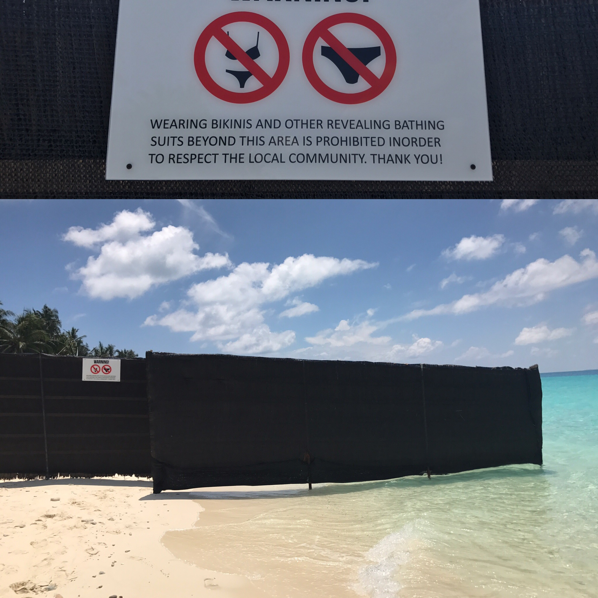 Bikini Beach, which restricts Western beachwear to a small, fenced off area.